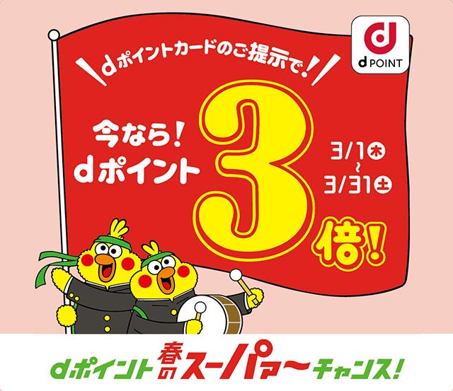 dポイント 春のスーパァ~チャンス!期間限定 ポイント3倍